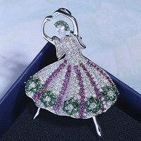Zlxgirl Luxury Brand Green Cubic Zirconia Dance girls women scarf pins Classic Wedding Decoration Corsage Pins hijab accessory