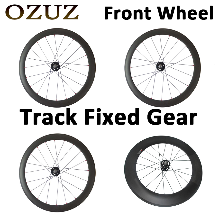 Factory Sales OZUZ Track Fixed Gear 700C 38mm 50mm 88mm Clincher Tubular Road Bike Bicycle Carbon Wheels Racing Only Front Wheel