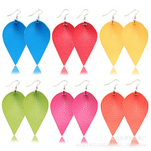 2019 color PU Leather Boho For Women Drop Dangle Leaf Earrings Statement Summer Fashion Ladies Jewelry
