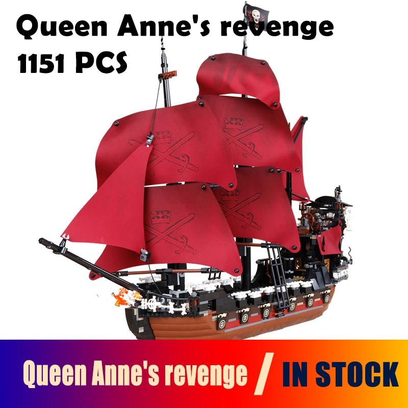 16009 1151pcs Queen Anne's revenge Pirates of the Caribbean Model Building Blocks Set Bricks Compatible with lego 4195 lepin 16009 1151pcs queen anne s revenge pirates of the caribbean building blocks set compatible with 16006 children diy gift