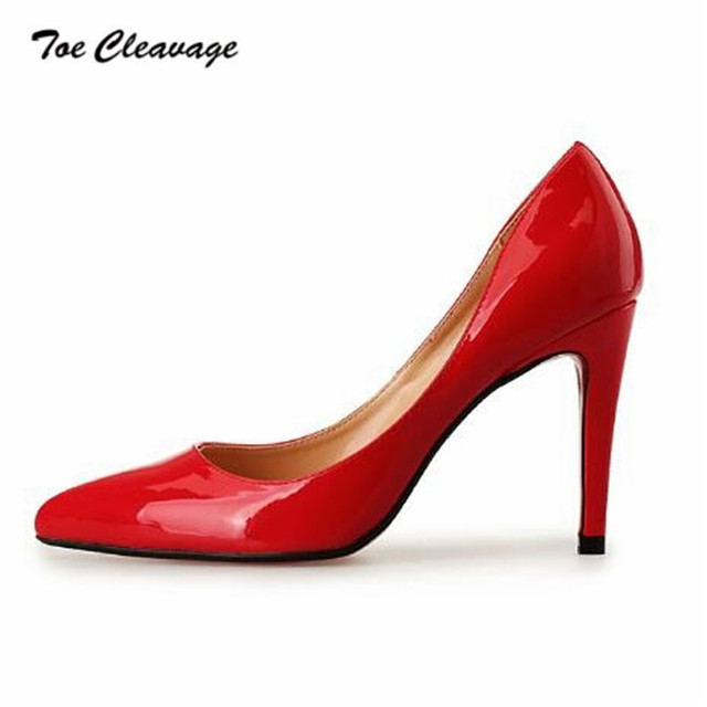 72c37372c0 Toe Cleavage Spring Autumn SM stilettos Sexy shoes woman 10cm Thin High  Heels Ladies Pointed Toe Pumps Plus size US14 15 16 17