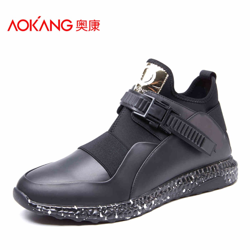AOKANG 2017 New Men s Genuine leather shoes Lace Up Casual Shoes For Men Comfort colorful