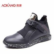 Aokang/Новинка 2017 года Мужская обувь из натуральной кожи Кружева на шнуровке Повседневная обувь для мужчин комфорт красочные мужской обуви Бесплатная доставка