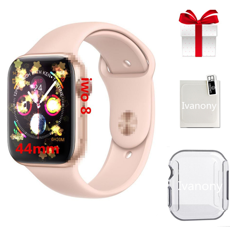 44mm IWO 8 Smart Watch Men Women 1:1 Watch 4 Heart Rate Smart Watch Case For Apple IPhone Android phone+Screen Protector+Film