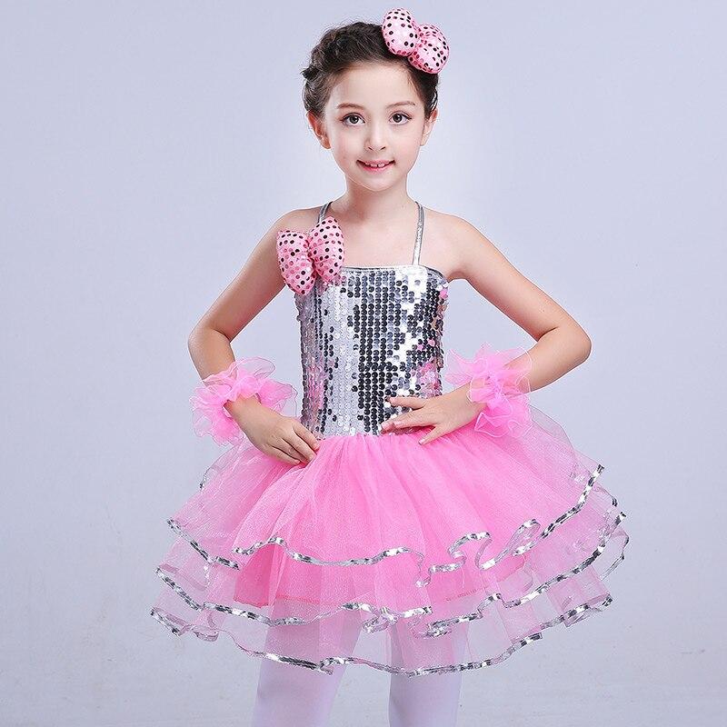 Новая детская Пышная юбка с блестками, одежда для выступлений, детское современное платье принцессы для девочек, костюмы для джазовых танцев - Цвет: Розовый