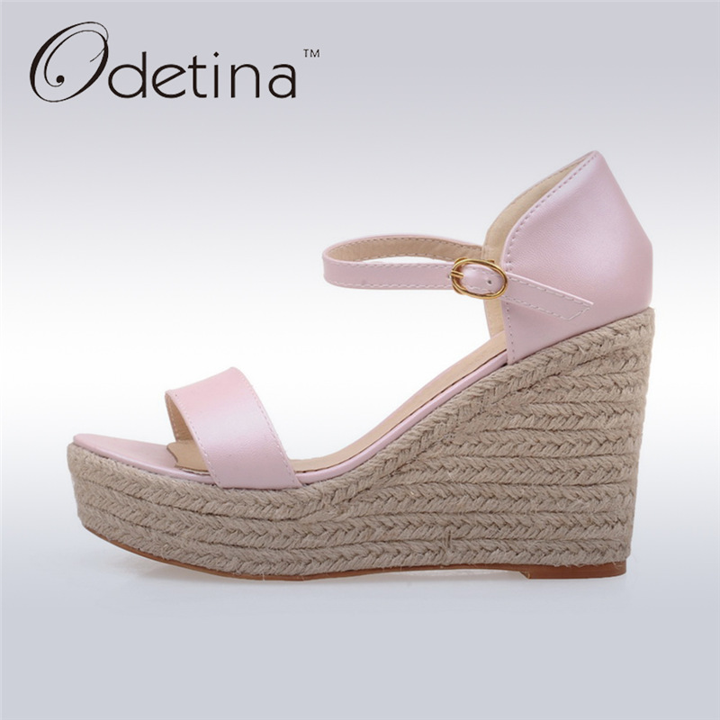 ФОТО Odetina 2017 New Brand Designer Fashion Platform Espadrille Wedge Sandals Sweet Woman High Heel Ankle Strap Sandals Summer Shoes