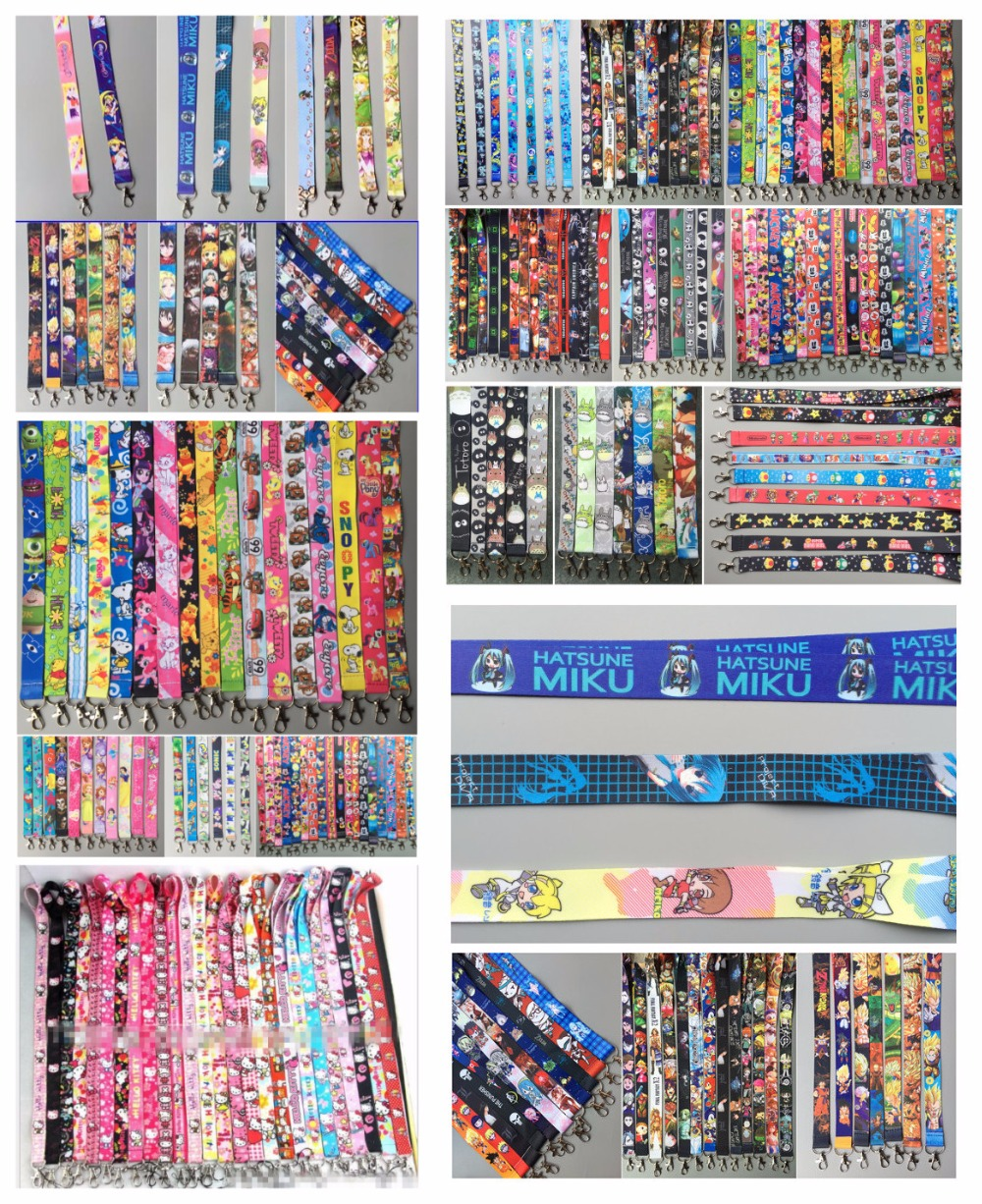 lot 100Pcs Japanese anime cartoon color mix Neck Straps Lanyards Mobile Phone ID Card Key chain