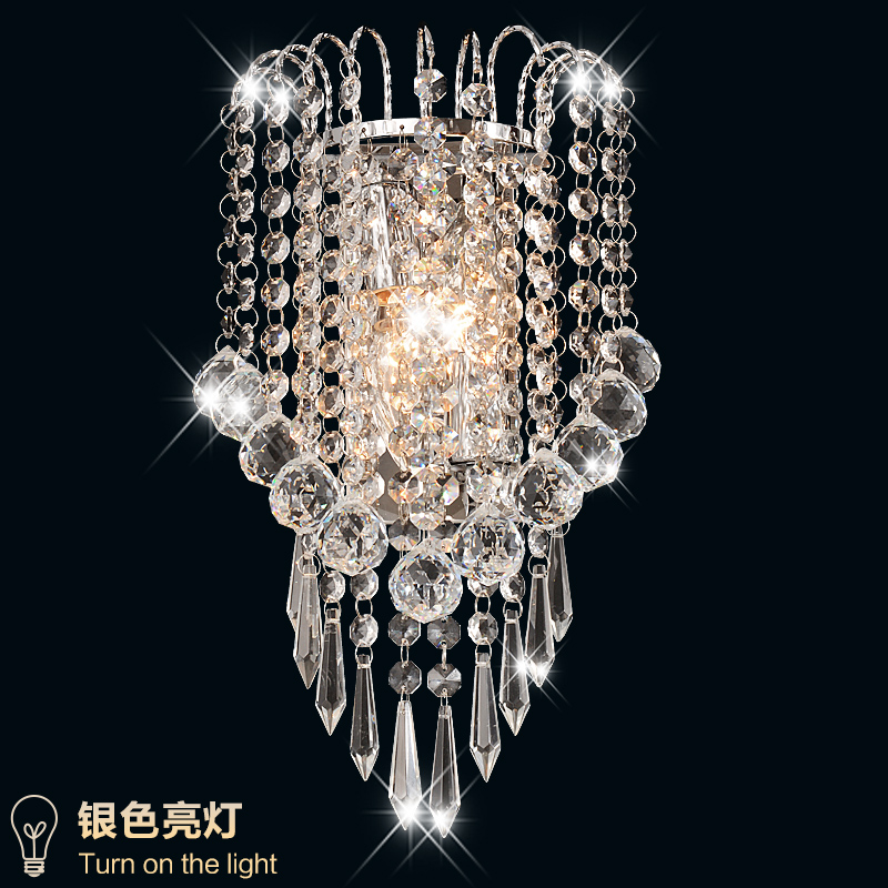 Hot modern LED K9 crystal wall lamp modern minimalist living room bedroom bedside lamp  LED aisle lights hotel project 85V-260V fashion stud wall lamp living room dining modern minimalist mirror front lamps bedroom bedside inn hotel clubs decorative lights