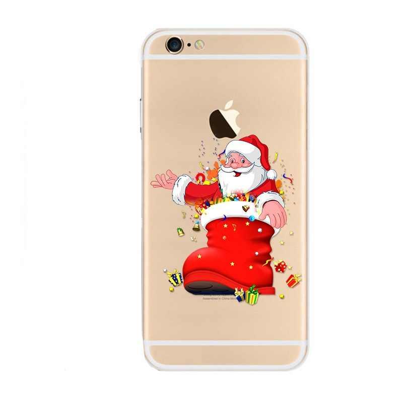 Étui pour iPhone 6 6S X 8 7 Plus en silicone souple de noël pour iPhone XS Max XR 5 5S SE coques de téléphone cadeau de nouvel an du père noël