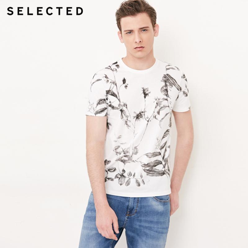 Camiseta de manga corta con estampado Floral y tinta de mezcla de algodón para hombre seleccionados   4183T4524