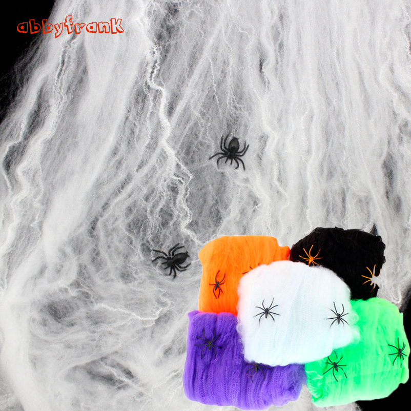 Abbyfrank 5Pcs/set Spider Web Net Horror Supplies Stretchy Cobweb Halloween Accessory Prank Toys Party Prom For Halloween White