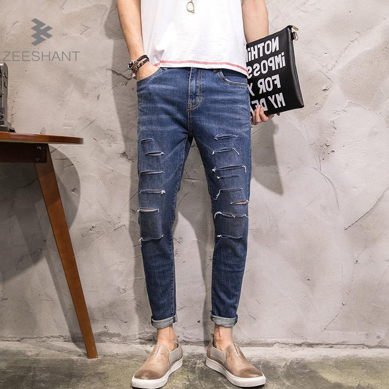 ZEESHANT 2017 Ripped Jeans Mens Brand Clothing Fashion Stretch Denim Pants Casual Slim Fit Biker Jeans For Men in Men's Jeans 2017 fashion patch jeans men slim straight denim jeans ripped trousers new famous brand biker jeans logo mens zipper jeans 604