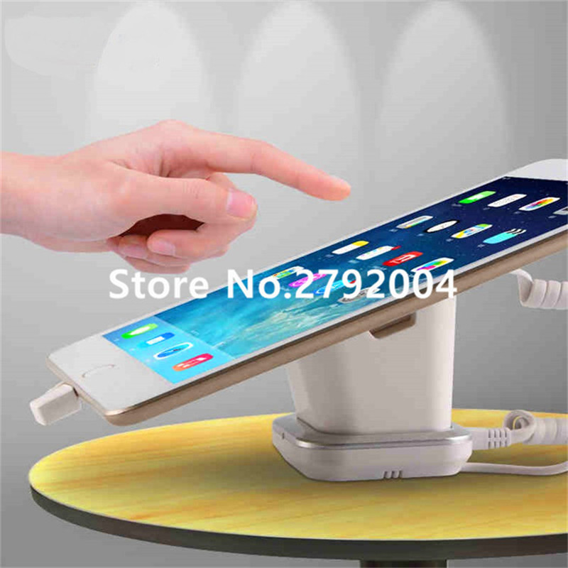 10pcs/lot Tablet security alarm Ipad display stand andriod anti theft holder charging apple mount devices for retail phone shop wholesale price mobile phone anti theft alarm display stand with charging for exhibition
