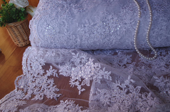 white sequins cord lace fabric, High end elegant fine tulle mesh embroidered wedding lace for bridal 1 yard, alf007