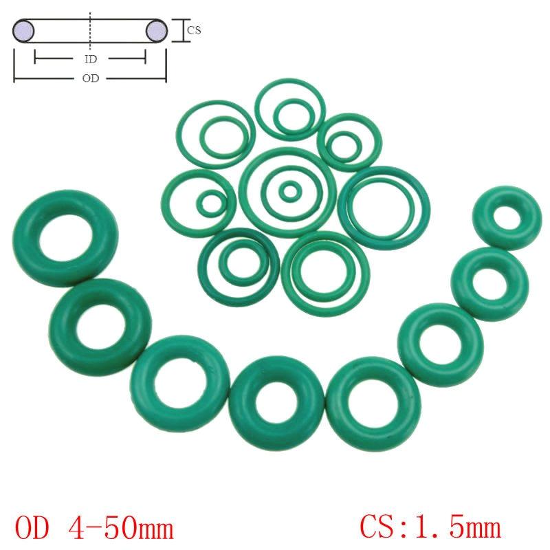 цена на Green Viton FKM Fluorine Rubber O Ring O-Ring Oil Sealing Gasket CS 1.5mm OD 4-50mm