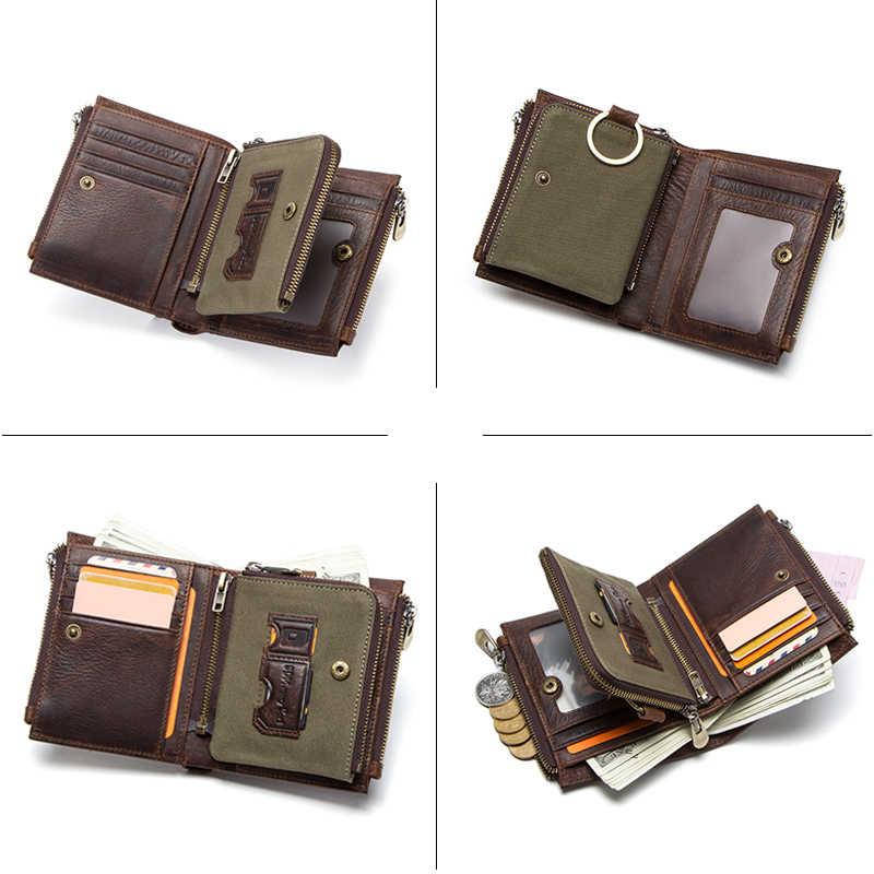 Carteiras de couro legítimo para homens, bolsa de moedas masculina para dinheiro com zíper, suporte de cartão de bolso de padrão portomonee