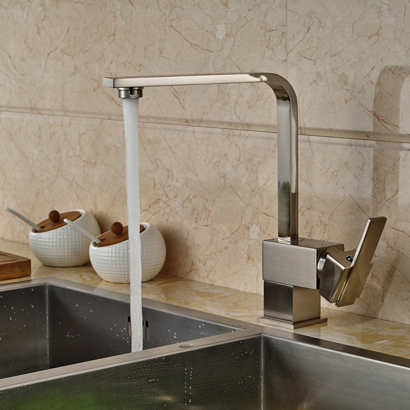 ФОТО Brushed Nickel Deck Mounted Kitchen Faucet Tap Single Hadle One Hole with Hot and Cold Water Pipes