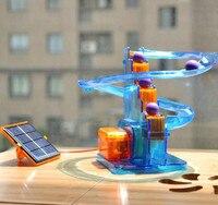 DIY Mini Solar toys for kids boys gift with castle model energy
