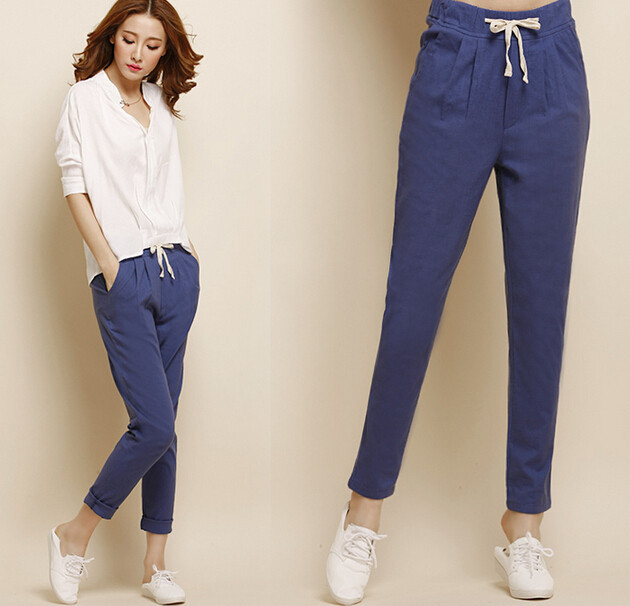 Women harem   Pants   Fashion   Capris   trousers solid color   pants   large size Spring Summer   pants