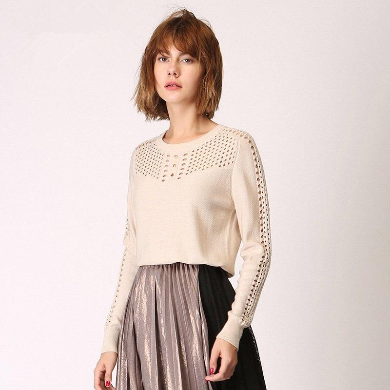 Nouveau automne hiver chandail femme mode femmes élégant solide couleur ajouré tricot pull pulls à manches longues tricots