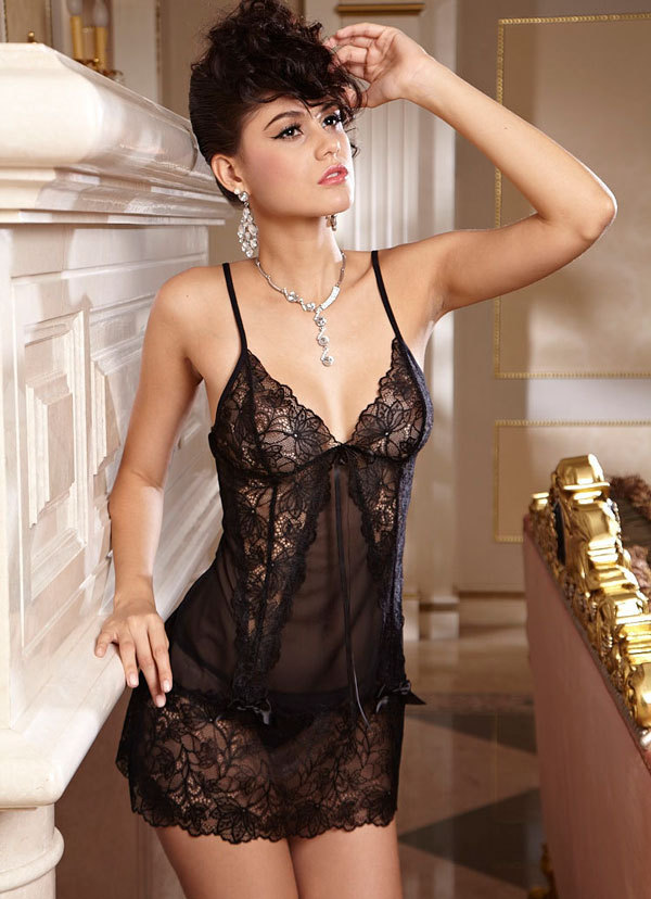 Beautiful Russian Girl Black Lace Clear Sexy Lingerie Porn Babydoll Night Skirt And Thongs