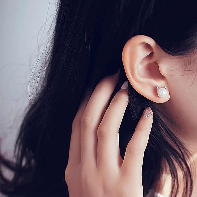 925 เงินสเตอร์ลิง Hypoallergenic Pearl Cat STUD ต่างหูสำหรับผู้หญิงของขวัญเครื่องประดับงานแต่งงาน Brincos Bijoux pendientes EH593