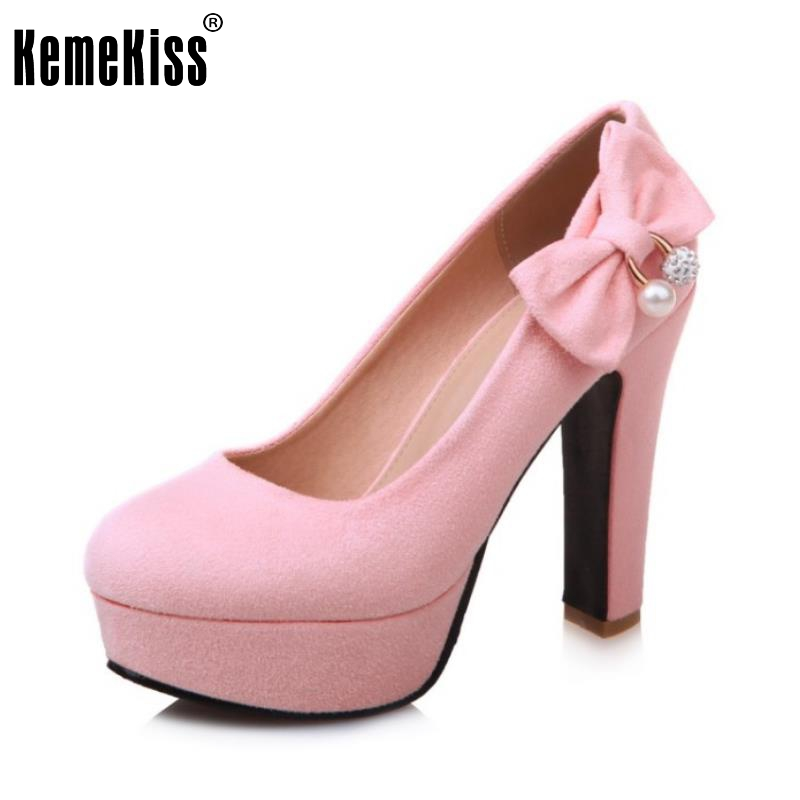 New Spring Shoes Woman Candy Pink Bowtie Platform Women High Heel Pumps Fashion Slip-on Dream Crystal Women Shoes Size 32-43 new arrival square toe horse hair fashion shoes woman buckle high heel platform high quality women pumps ladies shoes slip on