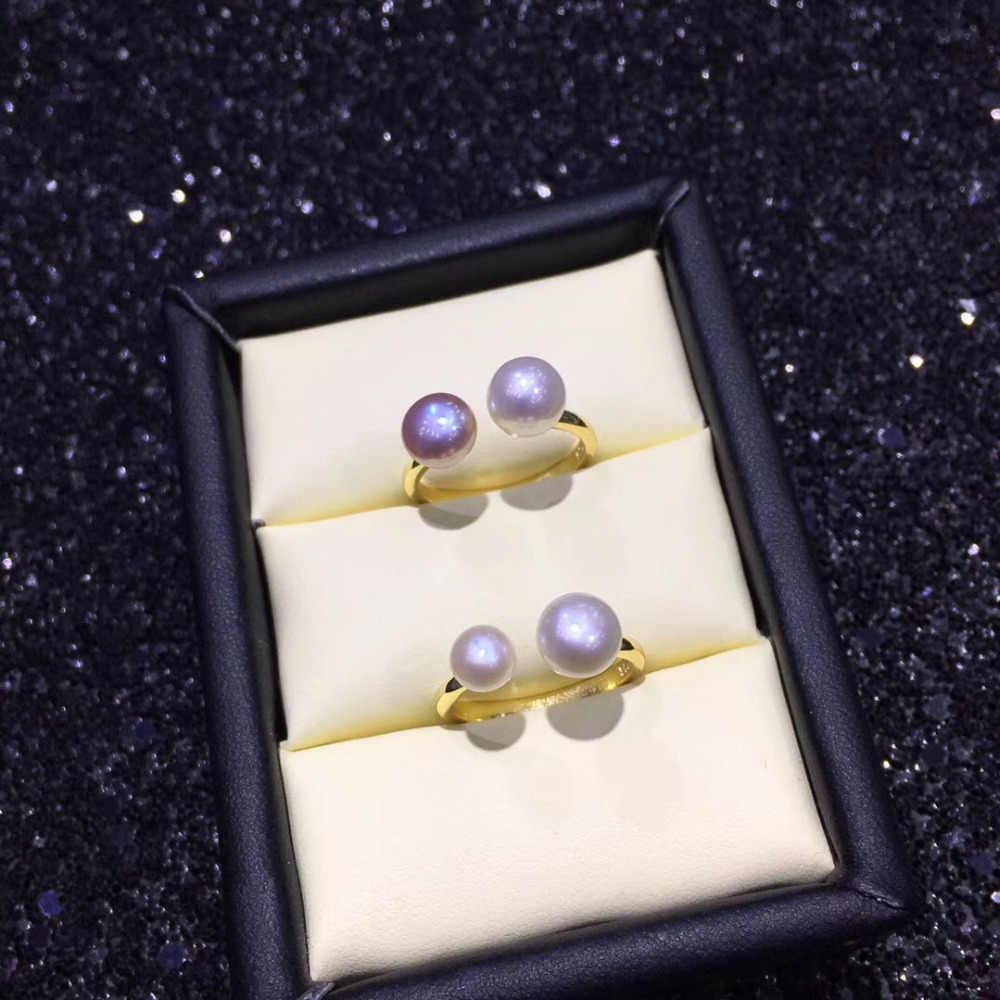 ZHBORUINI модное кольцо с жемчугом натуральный пресноводный жемчуг двойной жемчуг 925 Серебро хорошее кольцо ювелирные изделия для женщин Прямая доставка