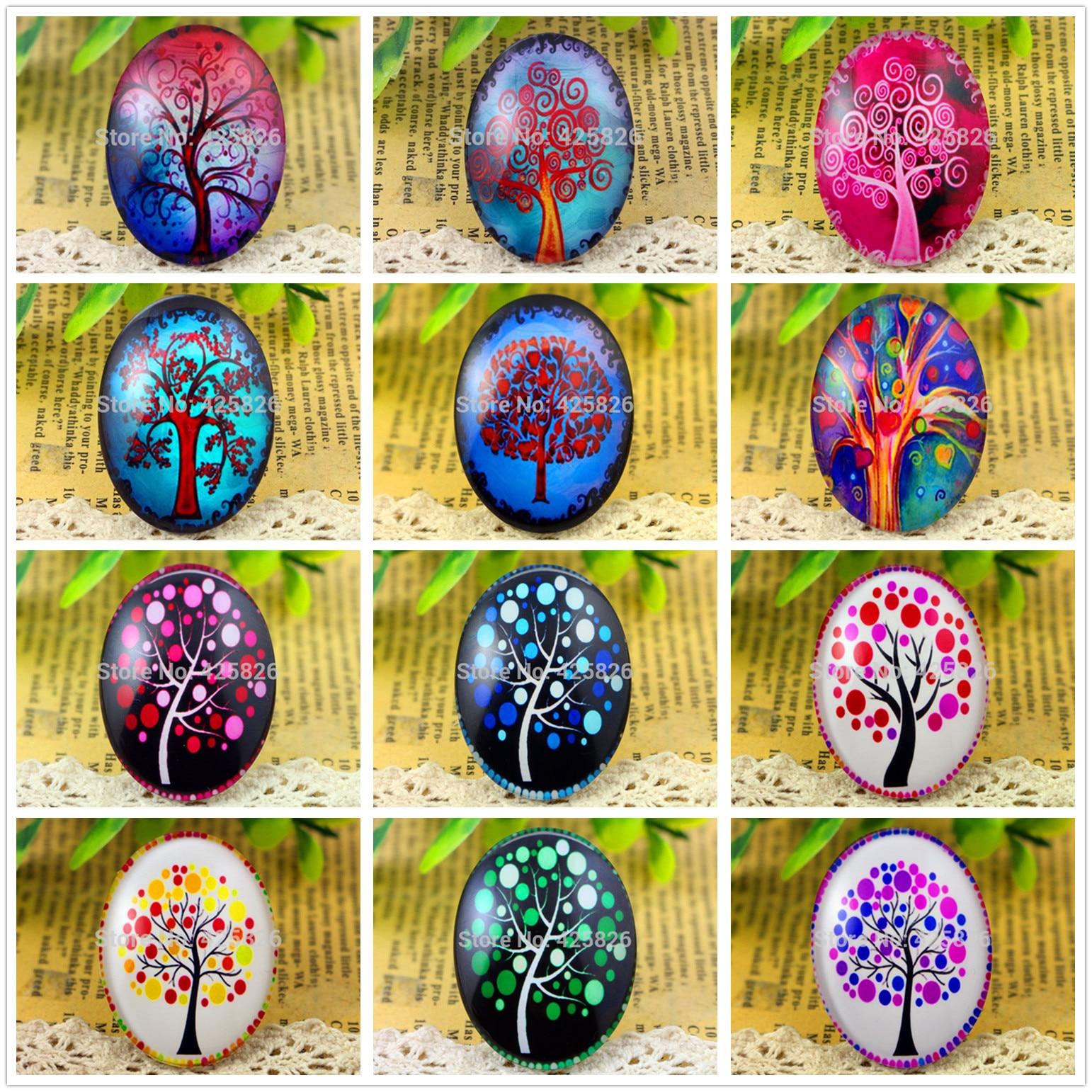 New Fashion  2pcs 30x40mm Energy Tree Life Tree Handmade Photo Glass Cabochons (Color Tree Series)