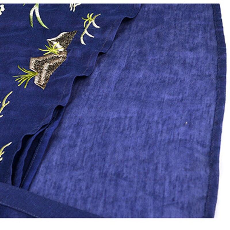 Nourriture De longueur Col Chinois Taille K113 Broderie Décontracté Genou Robes Lady Qualité V Bleu Distributeur Marine Maxi Style Robe Grande Supérieure Vintage Demi tA44xITw
