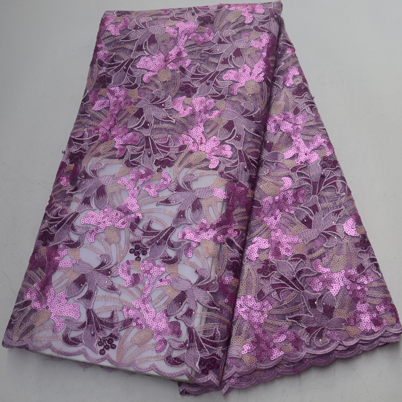 5yards pc lilac purple African sequins French net lace fabric with very beautiful embroidery and