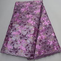 (5yards/pc) lilac purple African sequins French net lace fabric with very beautiful embroidery and beads for party dress FLP982