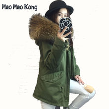Winter Jacket Women 2019 Army Green long Parka Coats Real Large Raccoon Fur Collar Fox Fur Lining Hooded Outwear Free DHL(China)