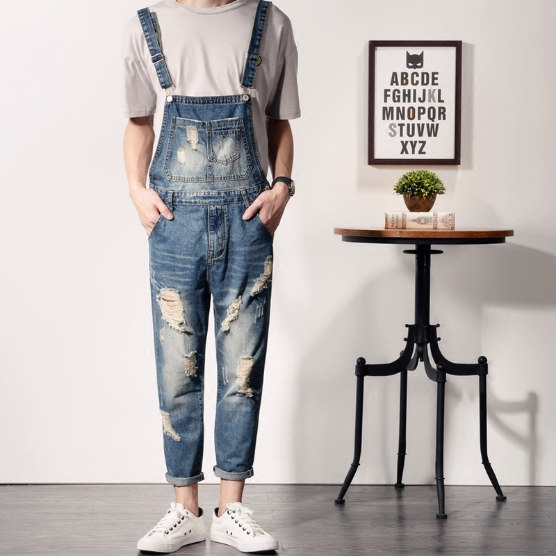 Men s casual Summer Vintage Wash big Ripped Holes bib overalls Mall denim jumpsuits Cargo pants