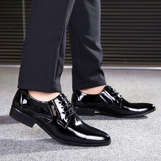 Новый 2016Top Лакированной Кожи Указал Оксфорды Мужские Классические Бизнес Обувь мужские Туфли