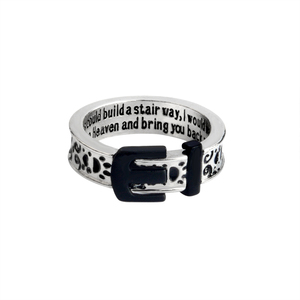 If tears could build a stairway, I would walk right up to Heaven Belt Buckle Dog paw Ring for Men Girl Pet Animal Jewelry