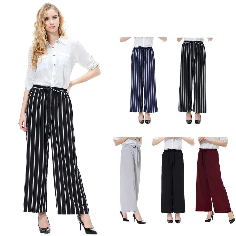 Fashion Women Casual Black And White vertical striped   Wide     Leg     Pants   Mid Waist Loose trousers with waistband