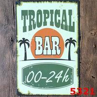 TROPICAL Bar 24 H Vintage PUB Tin Sign Home Hotal Decoration Wall Art Souvenir Gift 20