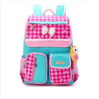 2015 Girl Plaid School Bag Children Backpack For Girls Elementary Primary Schoolbag Kids Blue Plaid Waterproof