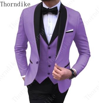 (Jacket+Vest+Pants) Mens Wedding Suit Male Blazers Slim Fit Suits for Men Costume Business Formal Party Classic Gray/Blue/Purple