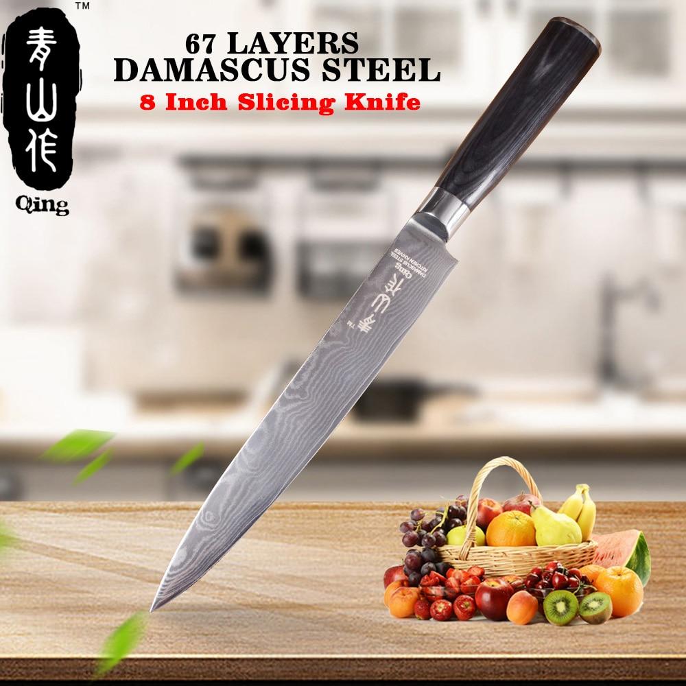 Цин 8 японский Дамаск Ножи черный Цвет деревянной ручкой Кухня Ножи очень Sharp нарезки Ножи VG10 Дамаск Сталь Пособия по кулинарии инструмент