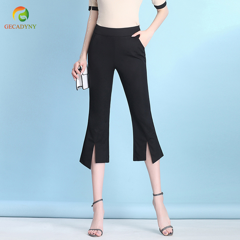 New 2019 Women's Fashion Flare   Pants     Capris   Slim Elastic Casual   Pants   Elegant High Waist Ladies Work Wear Office   Pants   Trousers