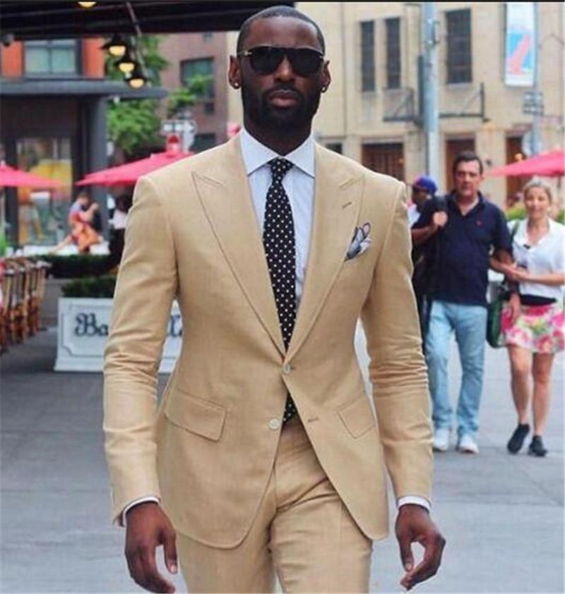 Elegant Beige 2 Piece Men's Blazer Suit For Wedding Slim Fit Business Office Groom Party Jacket Costumes Men Suit With Pants