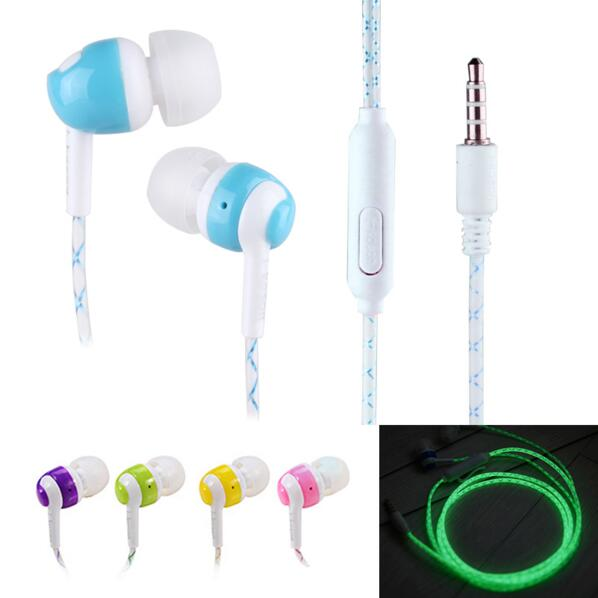 Hot Sale!!! Glow In The Dark Earphones In-Ear Earbuds Super Bass Stereo Luminous Headset Glowing Handsfree With Mic stylish survival glowing in the dark paracord bracelet white