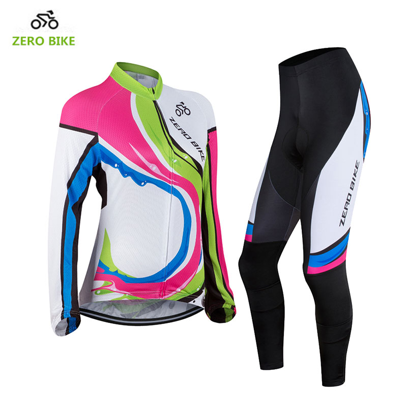 ZEROBIKE 2017 Women's Outdoor Sports Long Sleeve Cycling Jersey Polyester Full Zip 3D Padded Pants Cycling Set roupa ciclismo цена