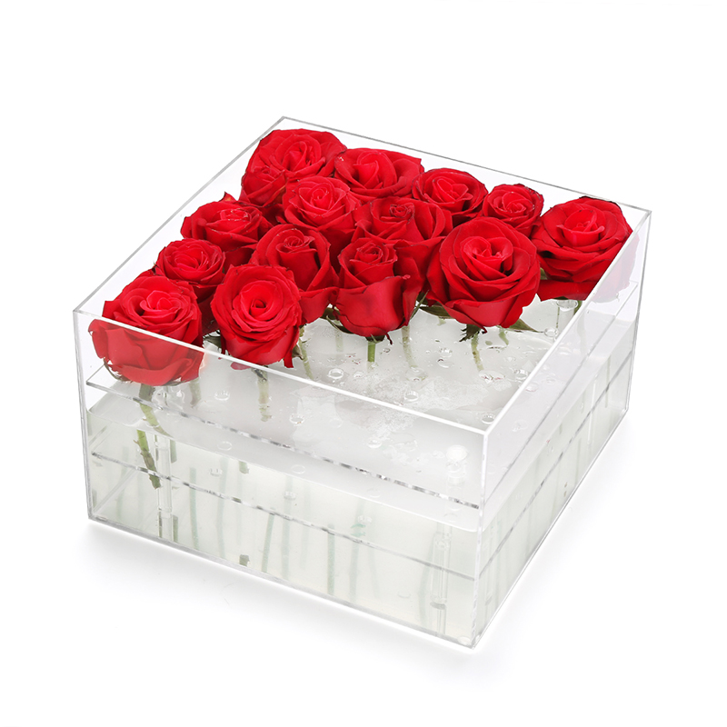 Acrylic boxes for flowers : Acrylic rose box clear boxes plastic for