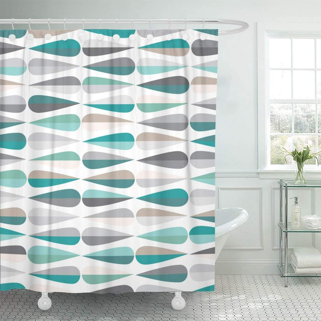 shower curtain with hooks mid century modern retro with drop shapes in tones abstract for all decorative bathroom