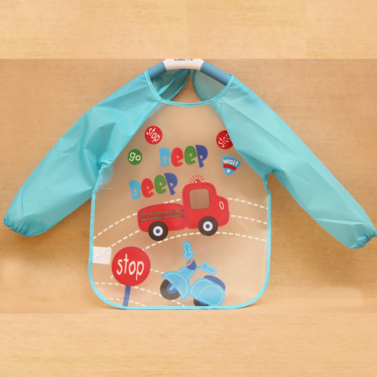 Водонепроницаемый детский фартук для кормления, для еды детский Слюнявчик - Цвет: blue car