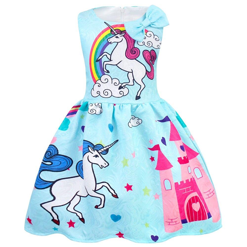 AmzBarley Cartoon Unicorn dress Sleeveless Bow knot girls unicorn costume purple Pink Blue Party clothes