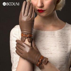 Image 3 - BOOUNI hakiki deri eldiven moda trendi kadın koyun derisi eldiven termal kış artı kadife deri sürücü eldivenleri NW745